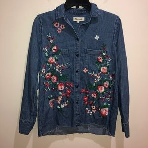 Madewell Size XS Embroidered Denim Cutoff Shirt
